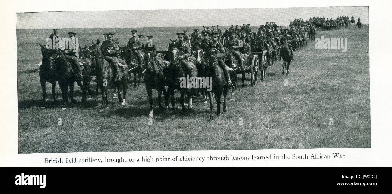 Here we see British field artillery in World War I These troops were brought to a high point of efficiency through Stock Photo
