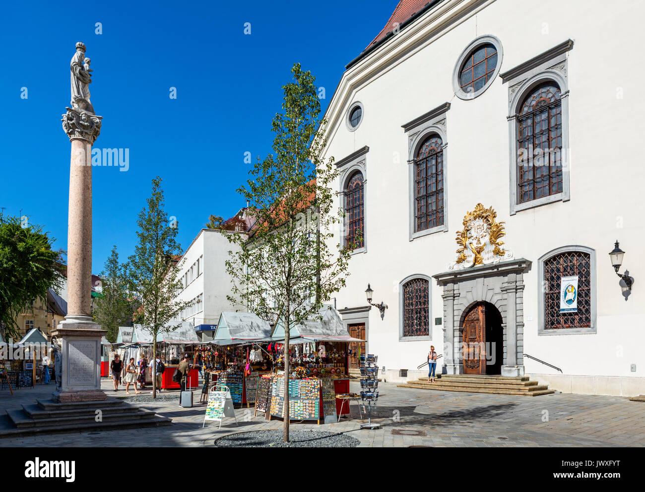 Holy Saviour Church (Jesuit Church) on Františkánske námestie, just off Hlavné námestie (Main Square), Old Town, Bratislava, Slovakia - Stock Image