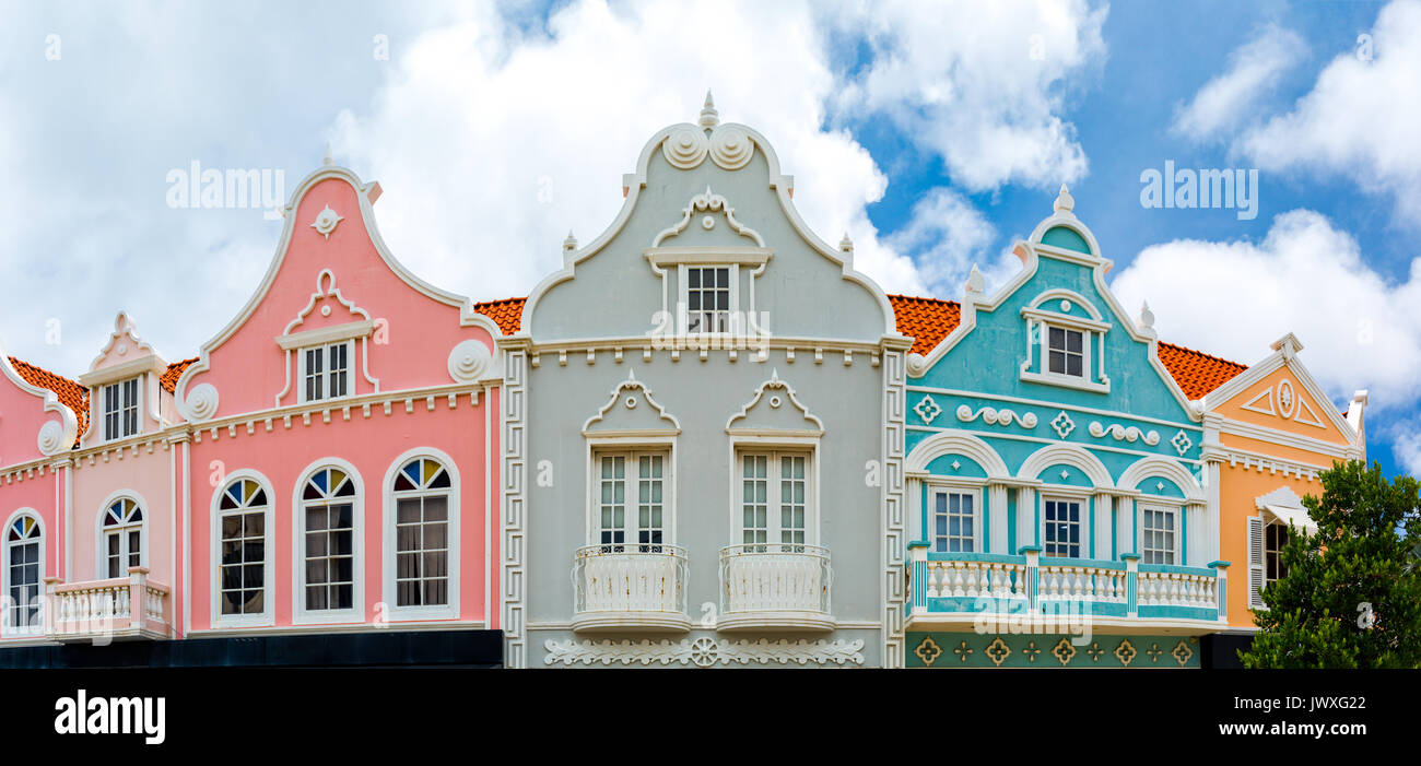 Oranjestad downtown panorama with typical Dutch colonial architecture. Oranjestad is the capital and largest city of Aruba - Stock Image