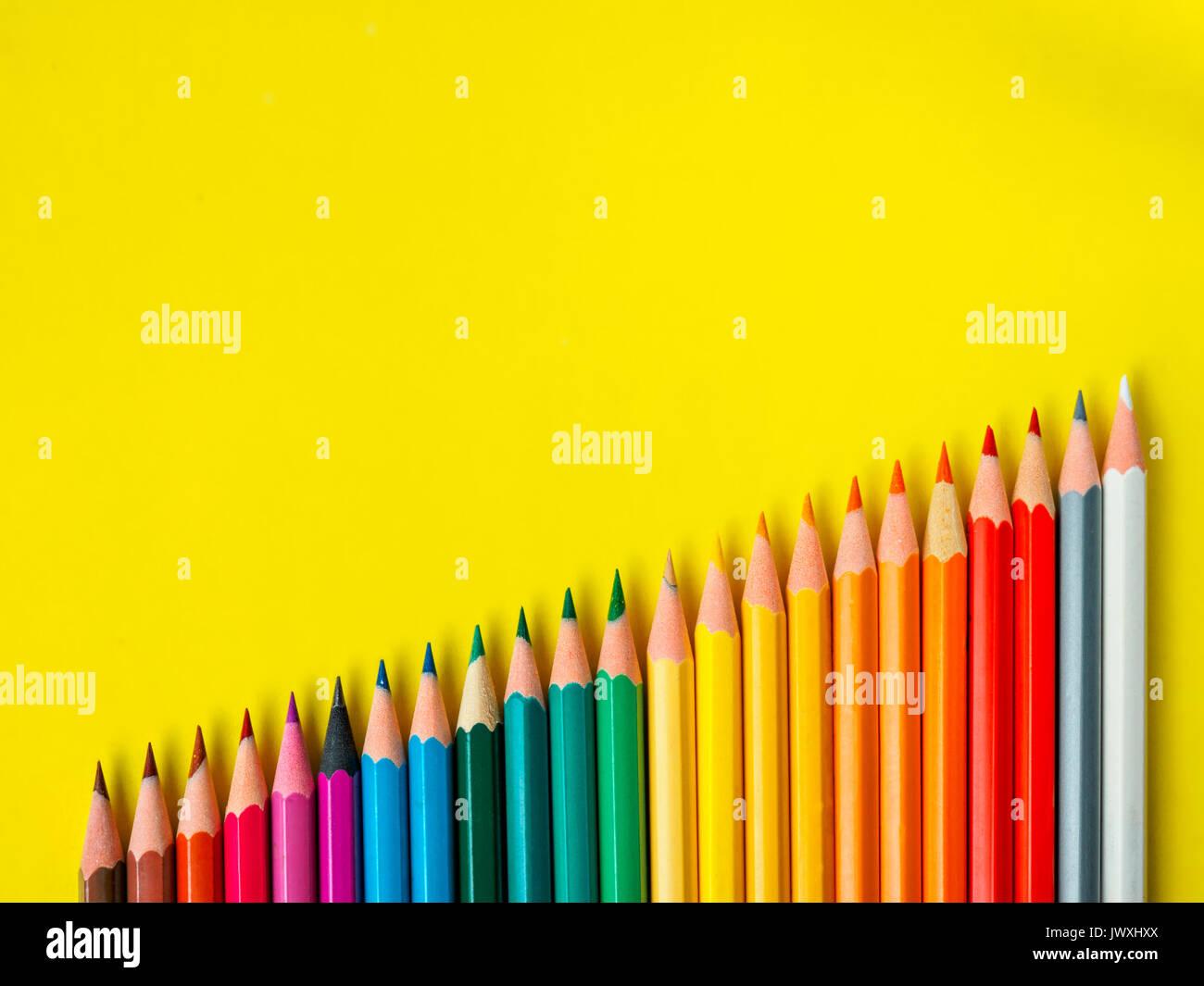 Colored pencil rainbow wave art school education  - Stock Image