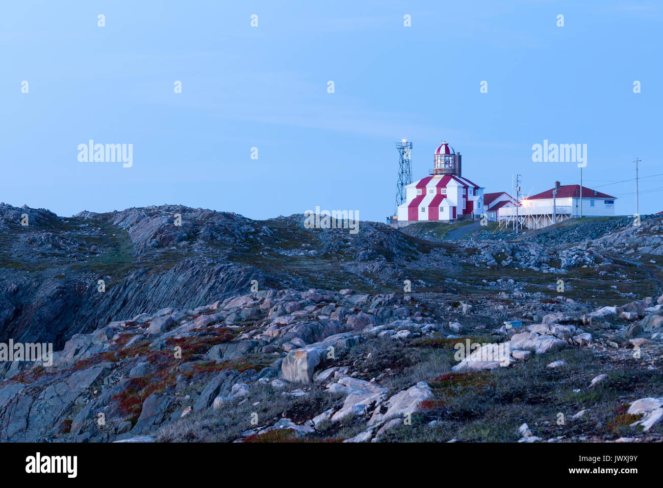 The Cape Bonavista Lighthouse seen here at dusk was in operation from 1842-1962. It is now a museum and is a Provincial Historic Site. Cape Bonavista. - Stock Image