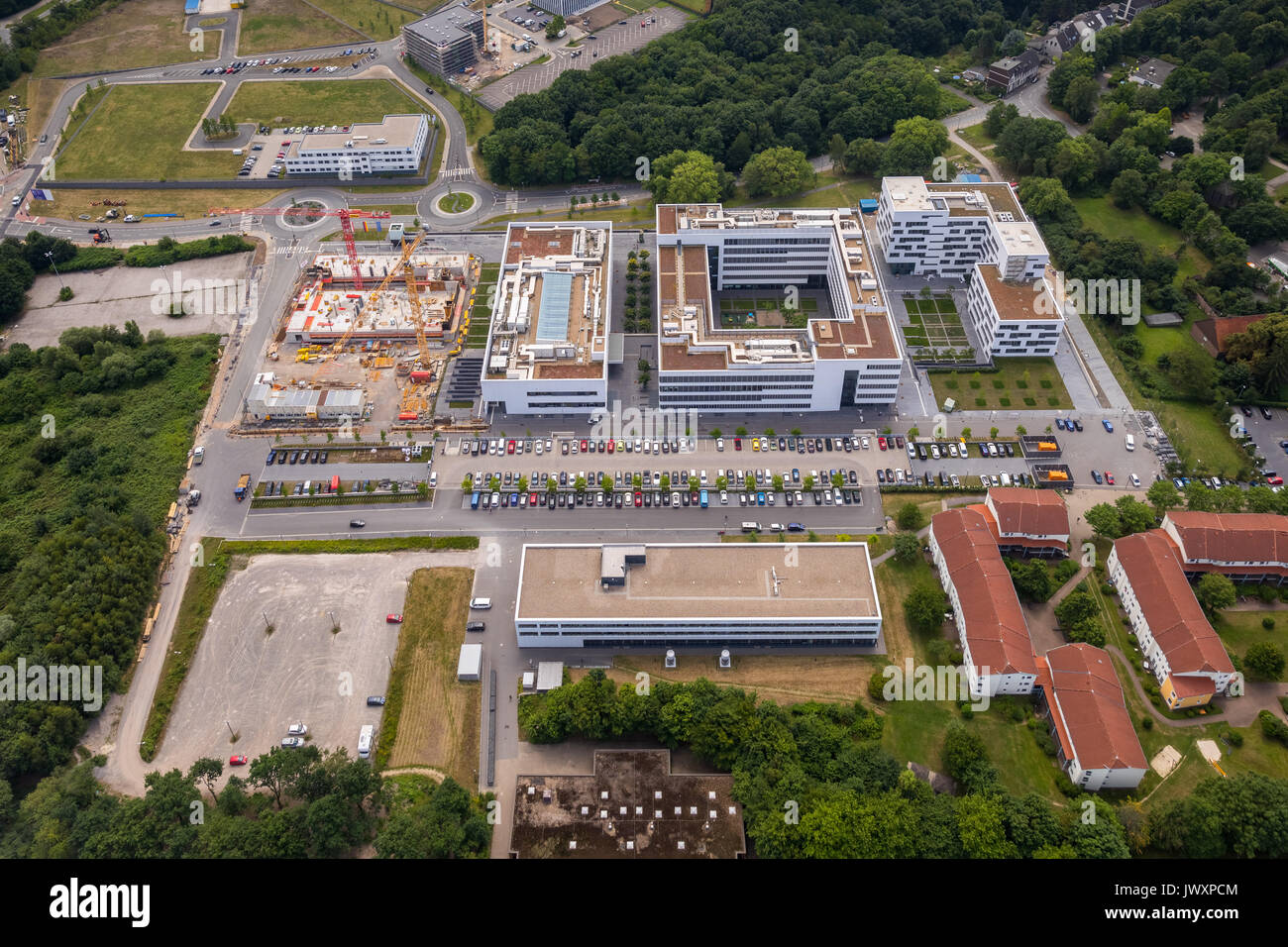 Hochschule für Gesundheit, Bochum, Gesundheitscampus,  Bochum,  Deutschland, Europa, Luftaufnahme, Luftbild, Luftbildfotografie, Luftfotografie, Nordr - Stock Image