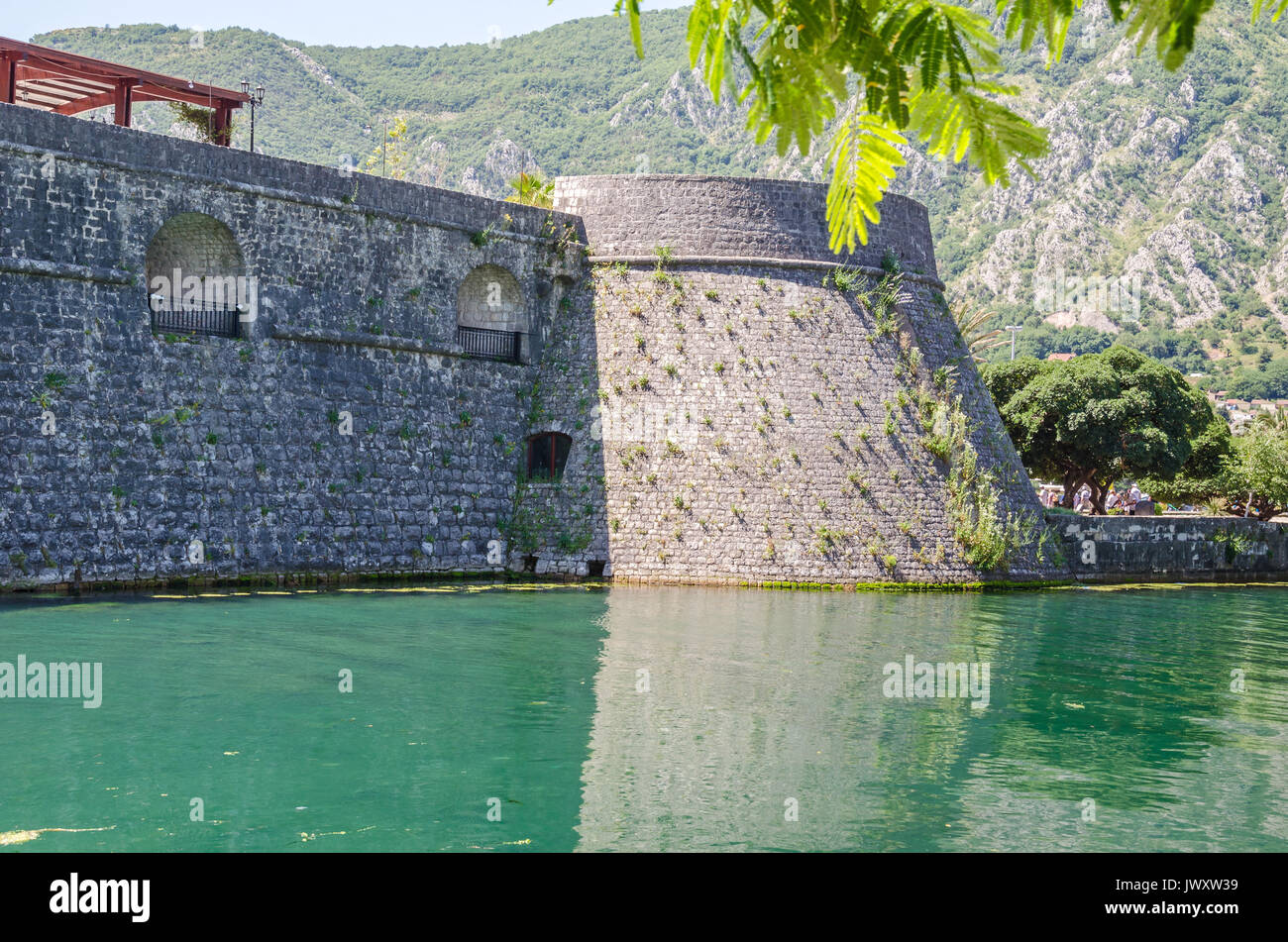Venetian fortifications of old town of Kotor included in UNESCO's World Heritage Site list as part of Venetian Works of Defence. The West side of the  - Stock Image