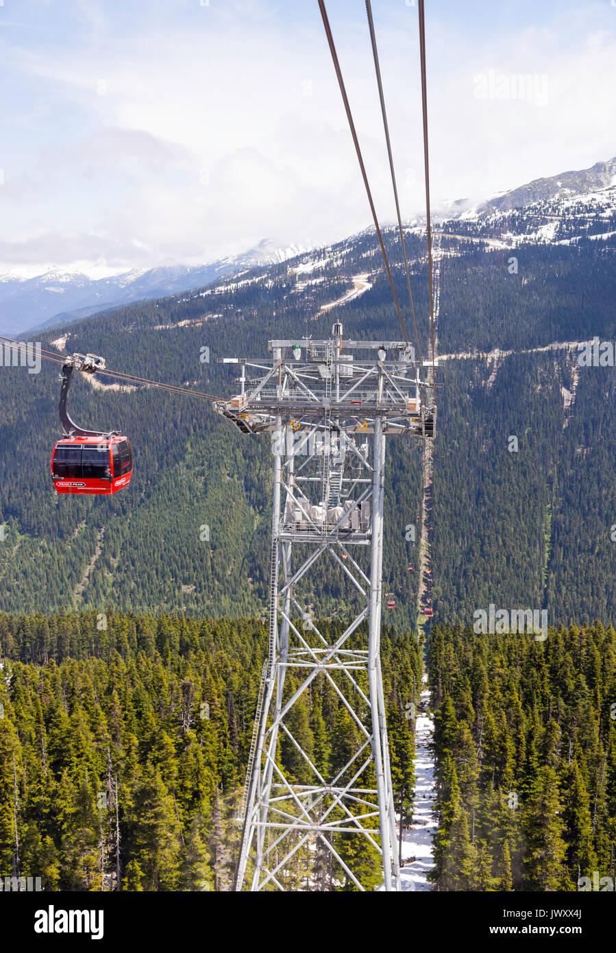 The Peak 2 Peak Gondola Ride at the Whistler Blackcomb Mountain Ski Resort and Mountain Bike Area Whistler British Columbia Canada - Stock Image