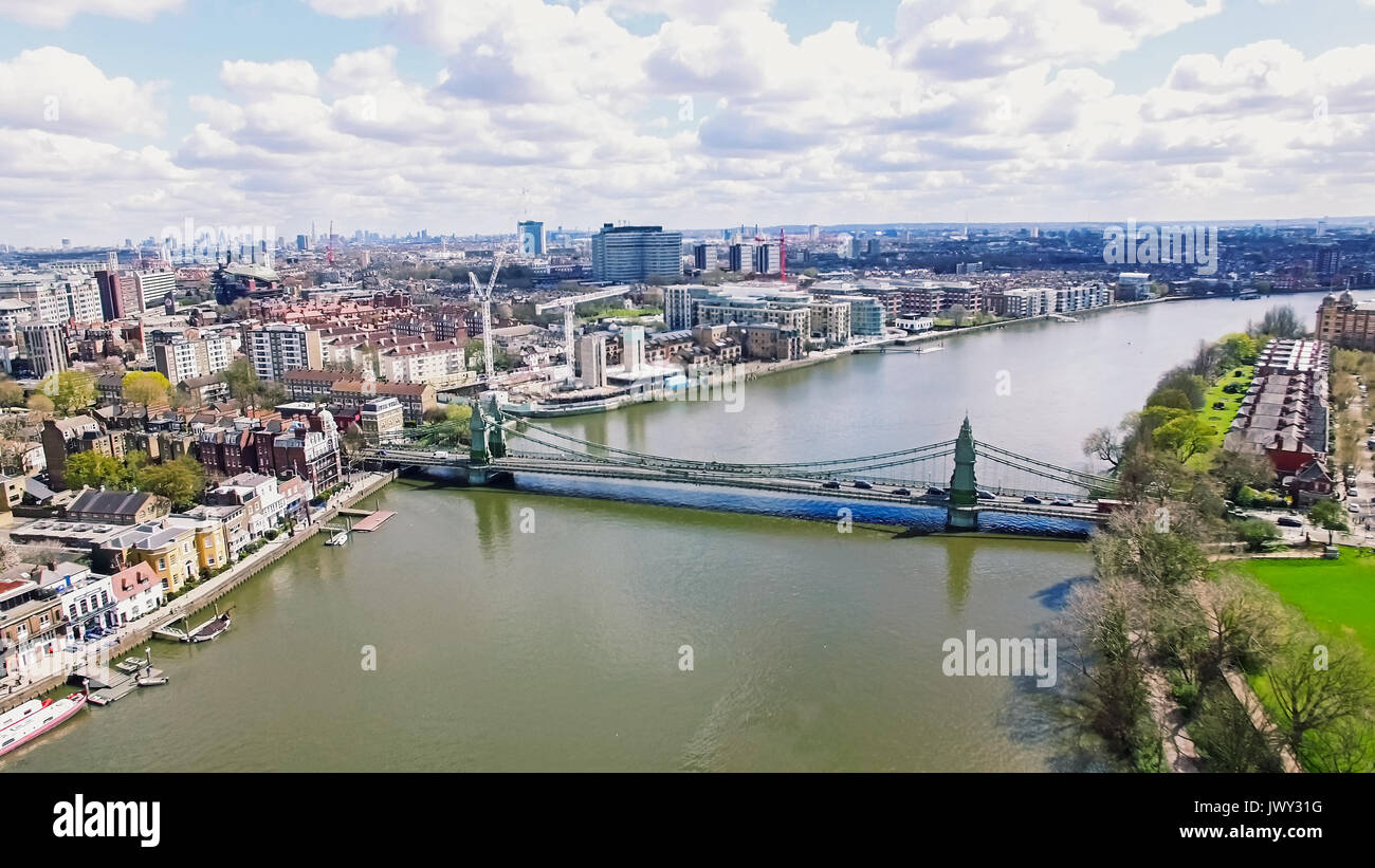 Aerial 4K Urban View Image Photo of Thames River and Hammersmith Bridge in City of London England UK Stock Photo