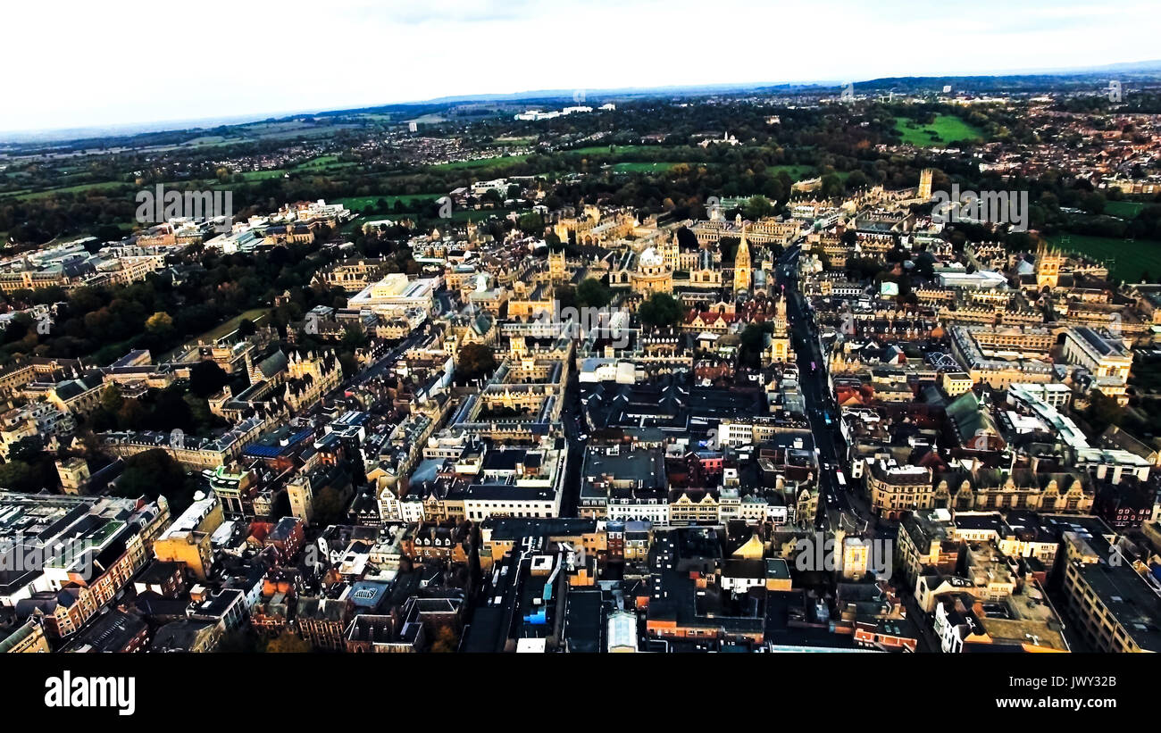 Oxford City, England Aerial View. Helicopter View Including Historic Buildings The Oxford University and College Buildings in United Kingdom - Stock Image
