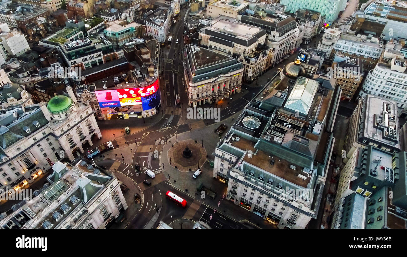 Aerial View Image Photo of Iconic Famous Landmark Square Piccadilly Circus Orbiting Around Soho and Leicester Square in London England UK - Stock Image
