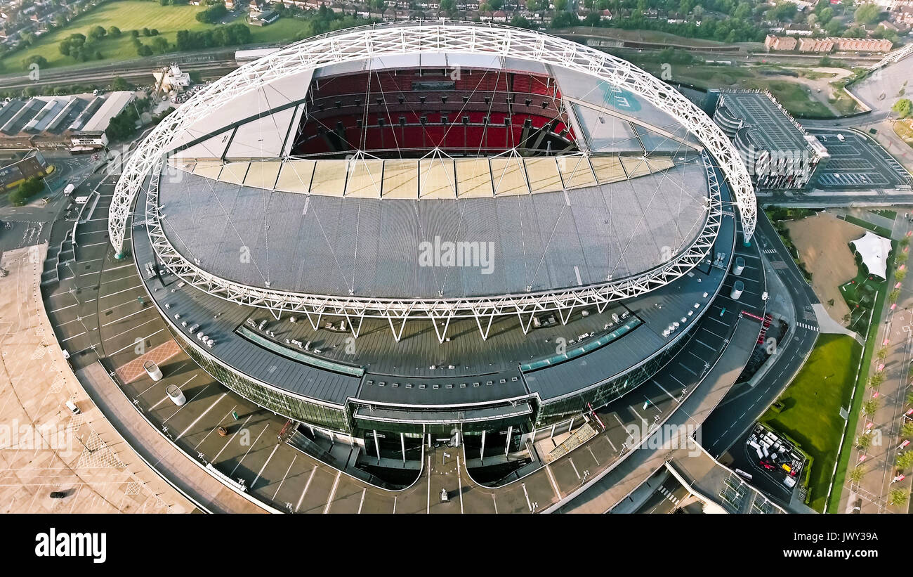 Wembley Stadium on October 10, 2016 in London, England. Aerial View Photo of Iconic Football Arena Wembley - Stock Image