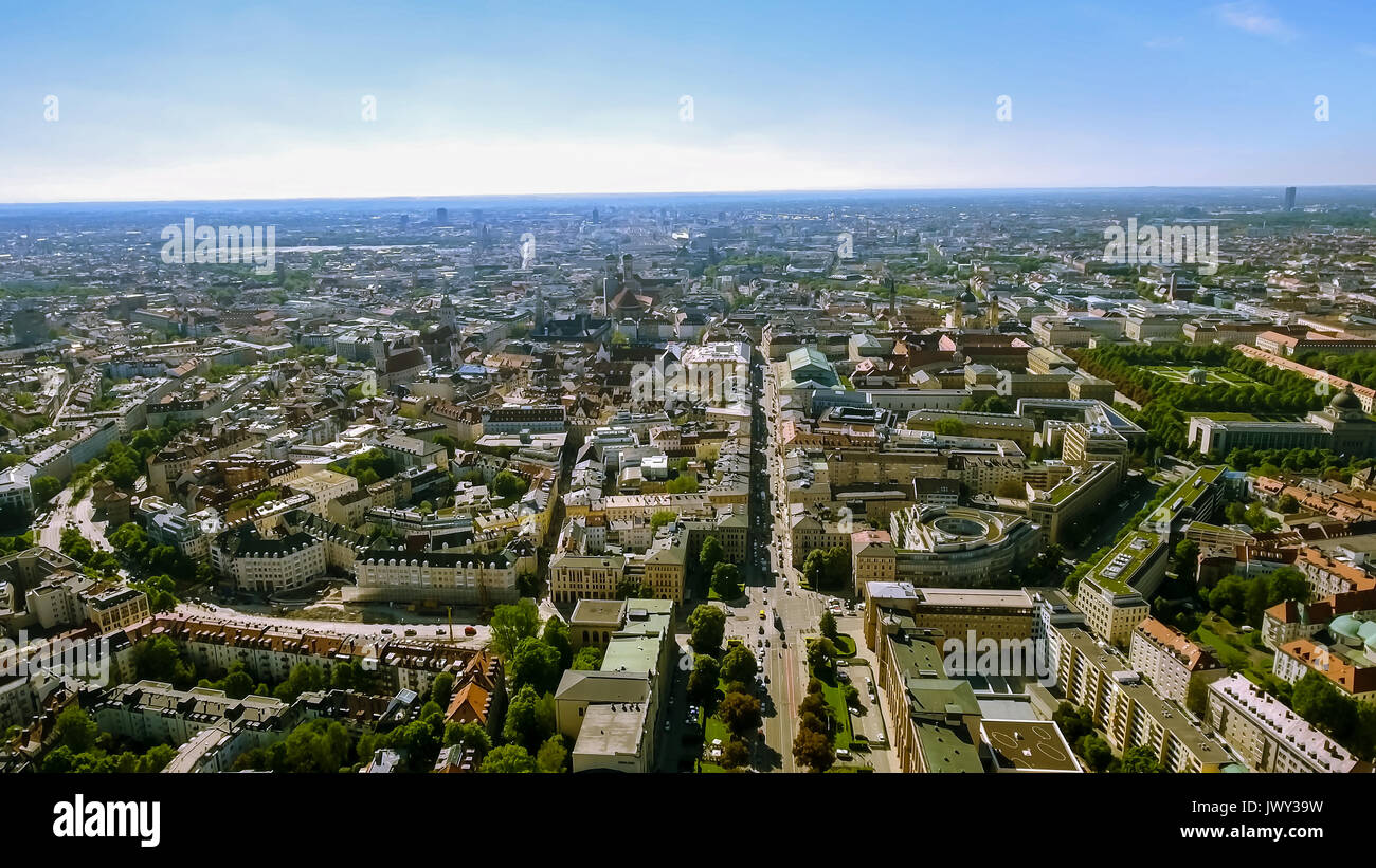 Aerial Bird Eye View Photo of Munich Cityscape feat City Center and Town Hall with Gothic Iconic Towers, Central Stock Photo