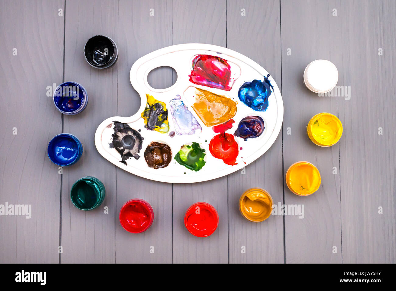 Palette and paints Stock Photo