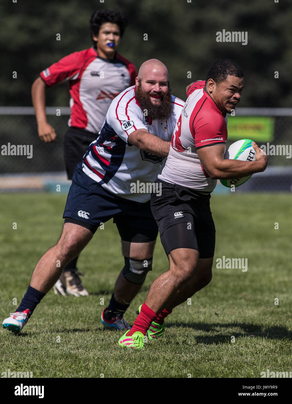 The Bald Eagles vs. Chico Mighty Oaks at the Rugby Sevens Tournament in Mount Shasta, California. Stock Photo