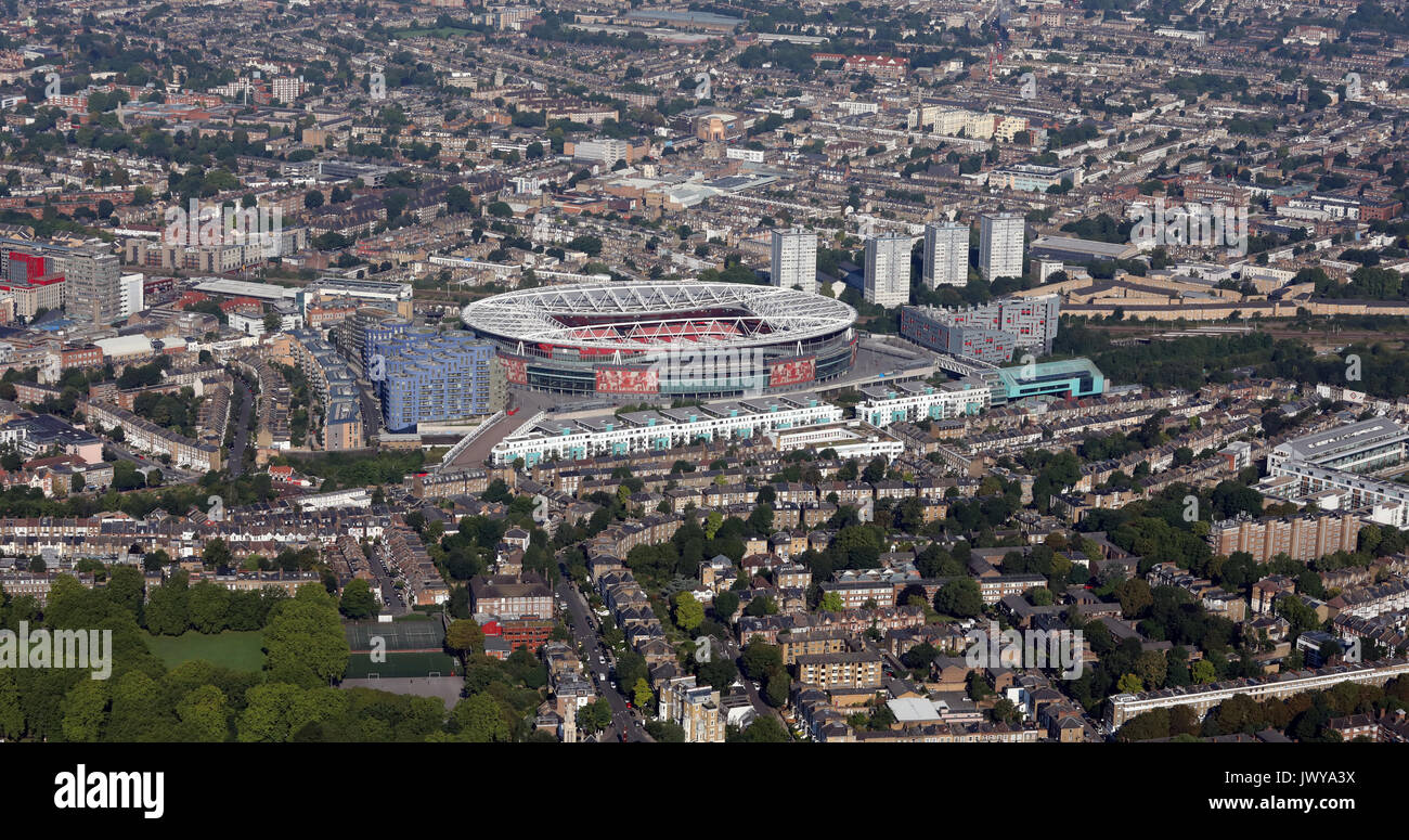 aerial view of Emirates Stadium home of Arsenal FC, North London, UK - Stock Image
