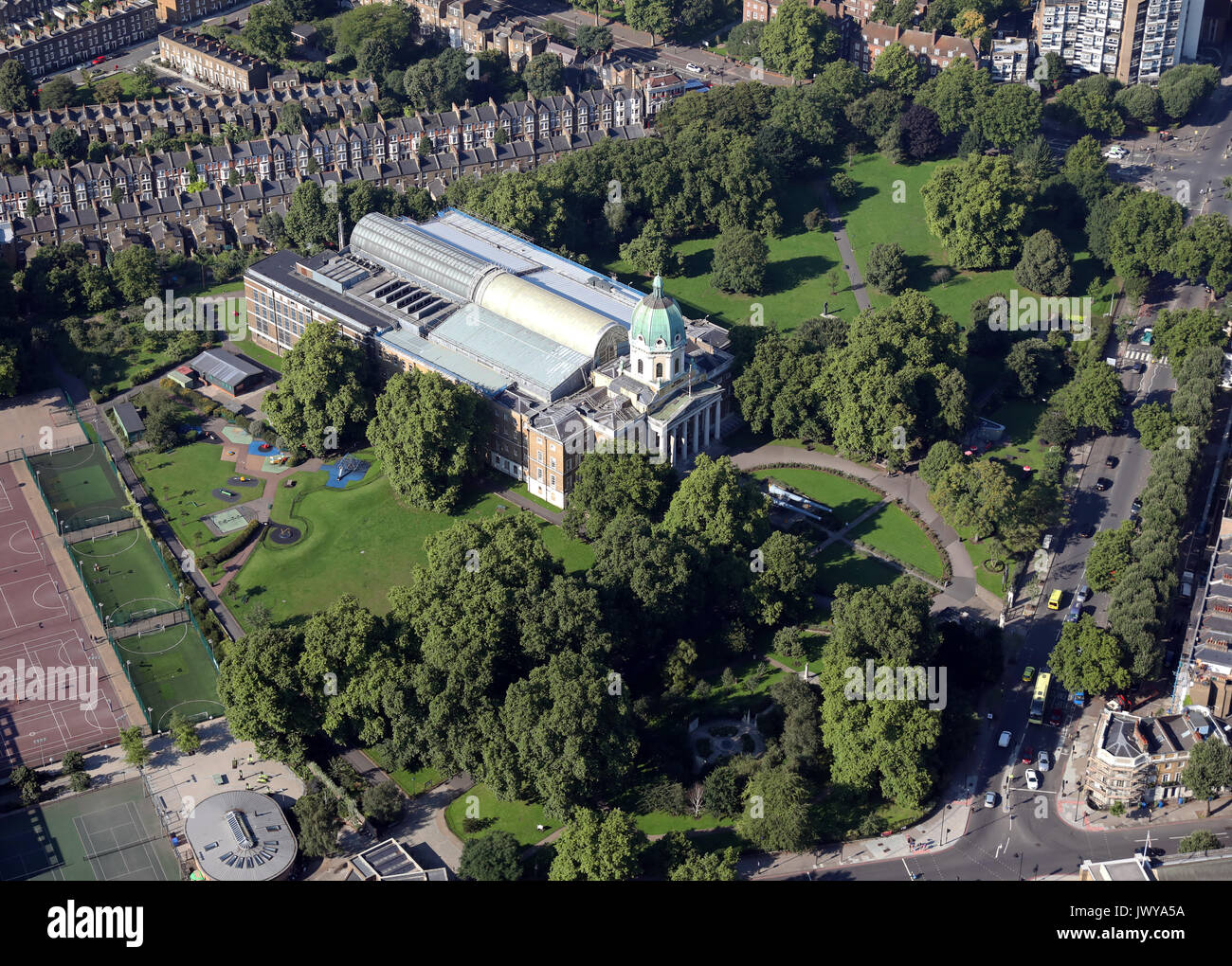 aerial view of The Imperial War Museum, London SE1, UK - Stock Image