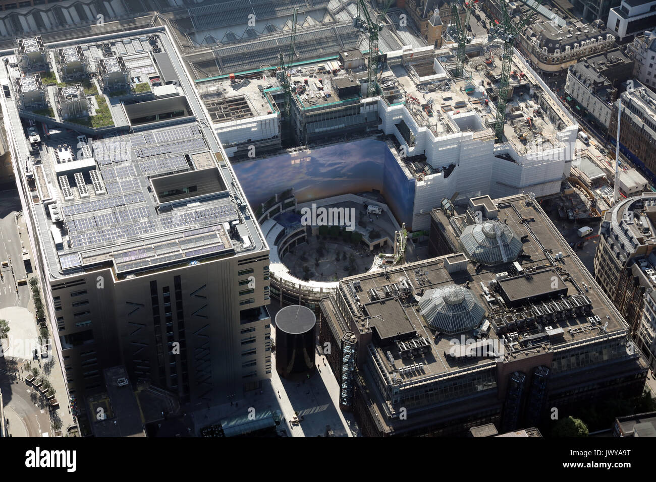 aerial view of Broadgate Circle, London EC2M, UK - Stock Image