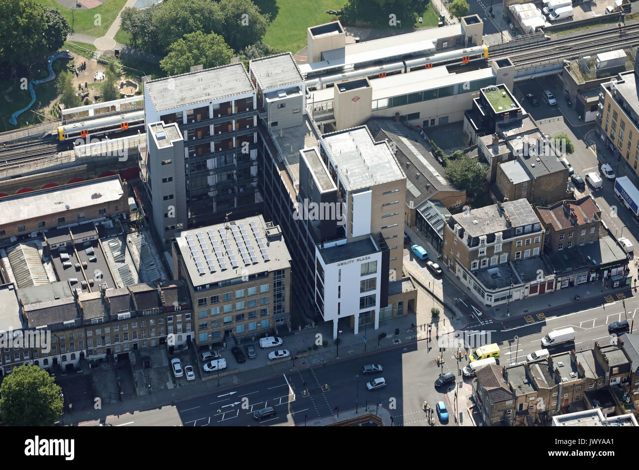 aerial view of Ability Plaza & Haggerston Station, London E8, UK - Stock Image