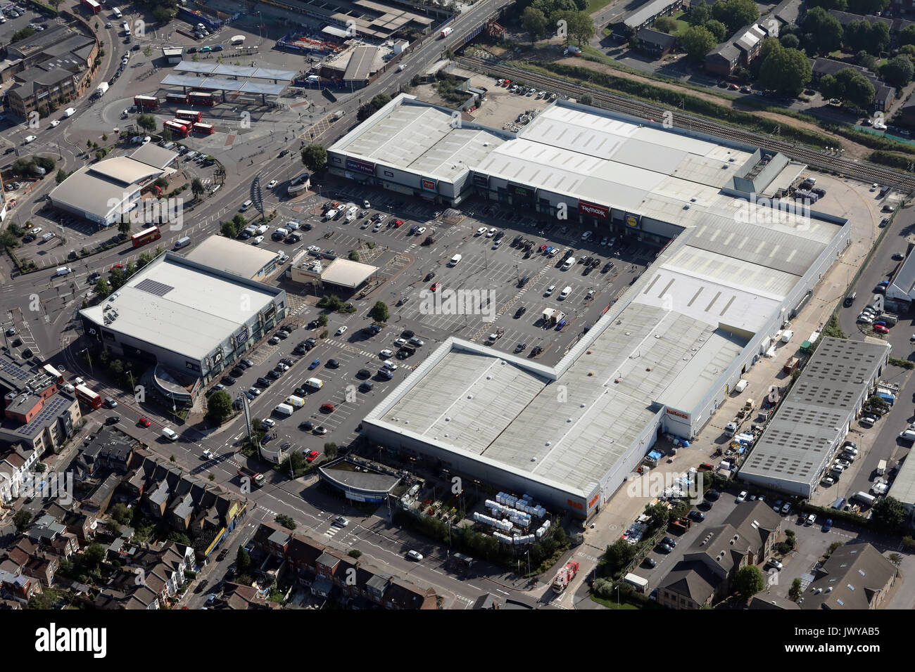 aerial view of Tottenham Hale Retail Park, London, UK - Stock Image