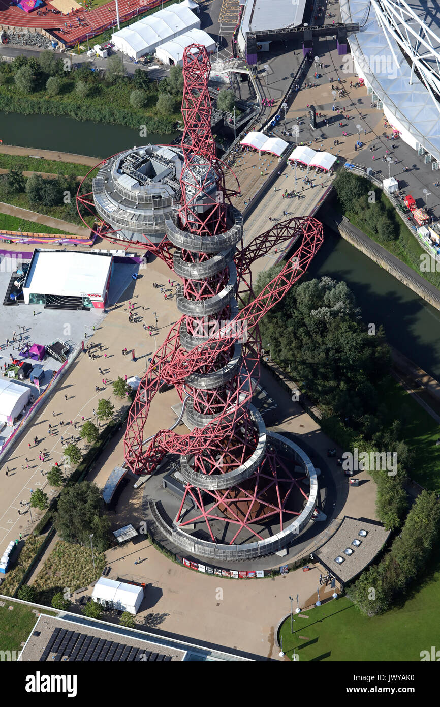 aerial view of Anish Kapoor sculpture the ArcelorMittal Orbit at the Queen Elizabeth Park London, UK Stock Photo