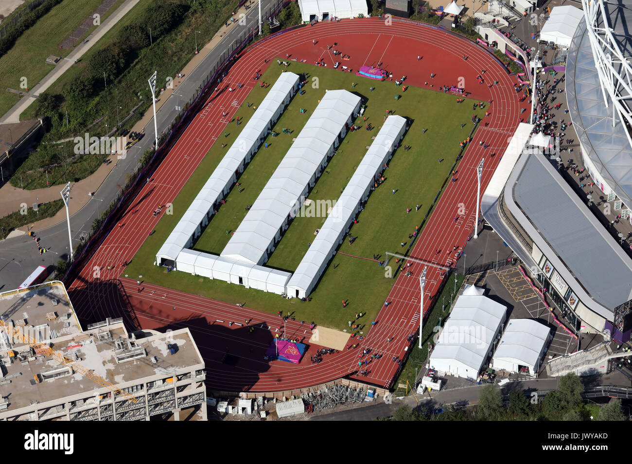 aerial view of the warm up area for athletes for London Stadium, UK - Stock Image