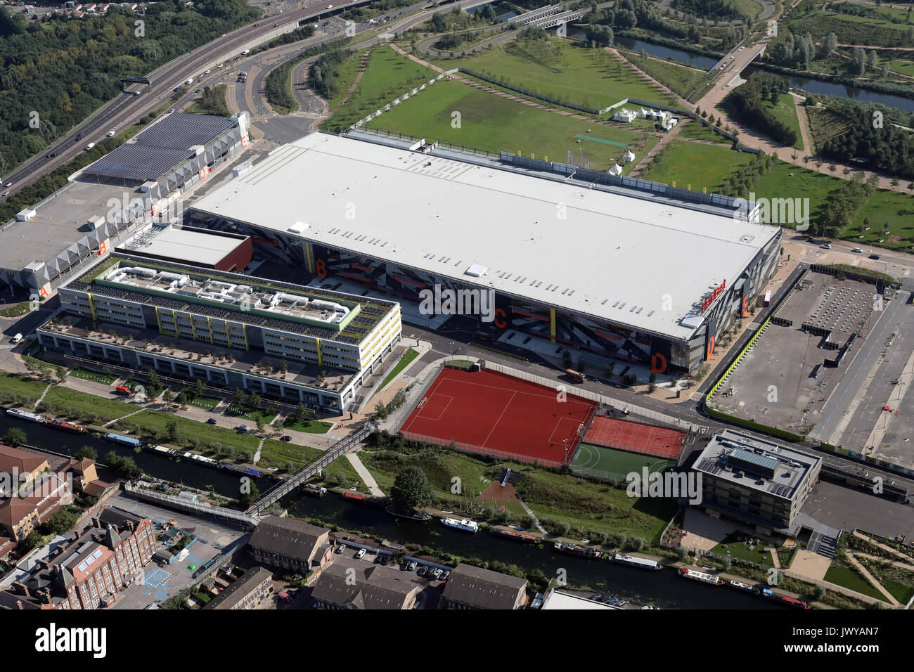 aerial view of Here East, BT Sport HQ & Loughborough University London, UK - Stock Image