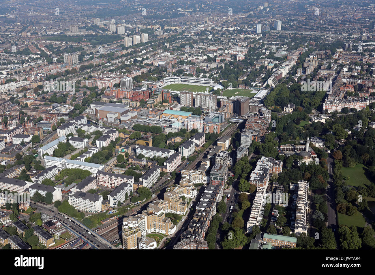 aerial view of Lisson Grove & St Johns Wood area of North London, UK - Stock Image