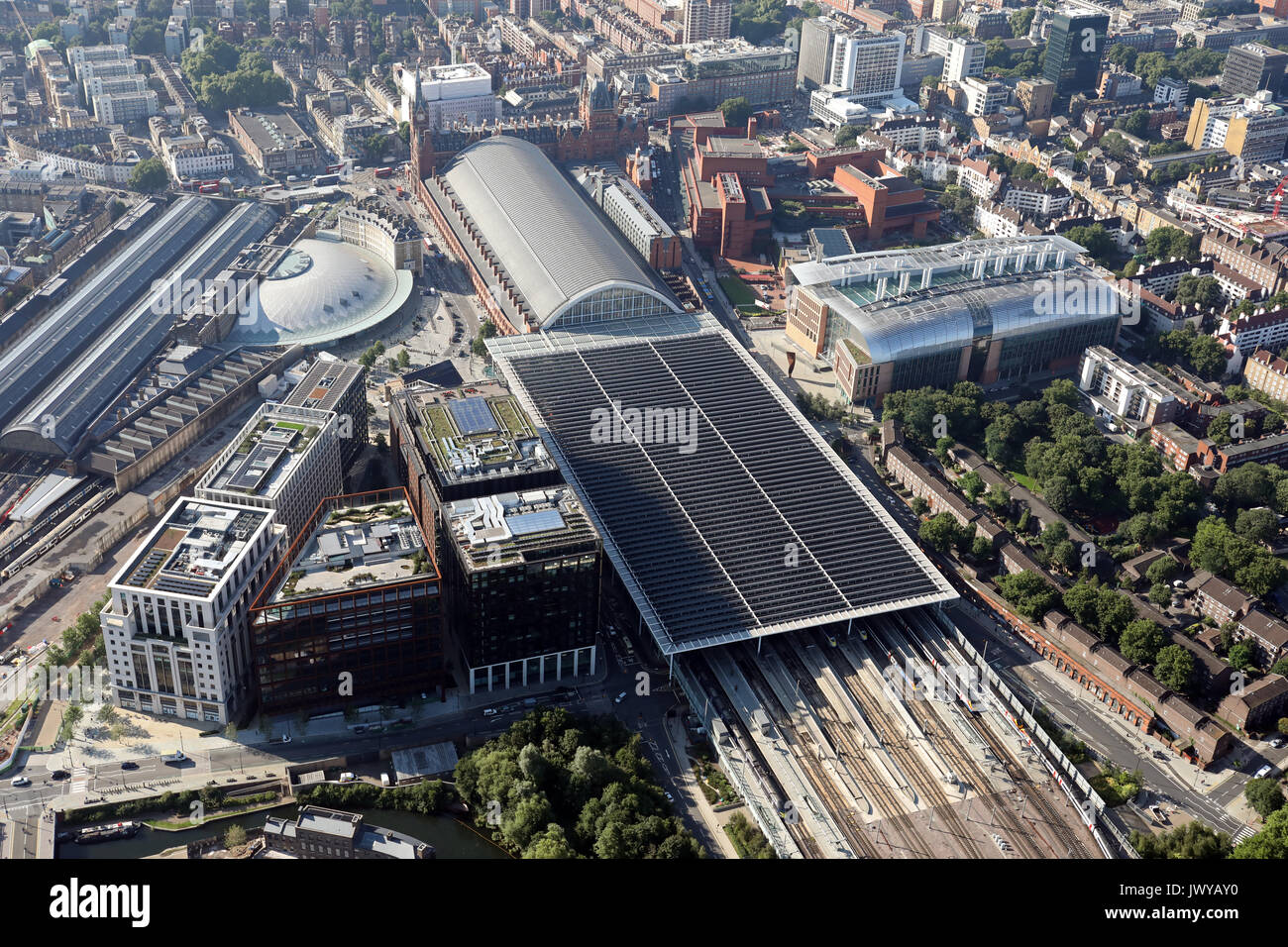 aerial view of St Pancras & Kings Cross railway stations, London, UK - Stock Image