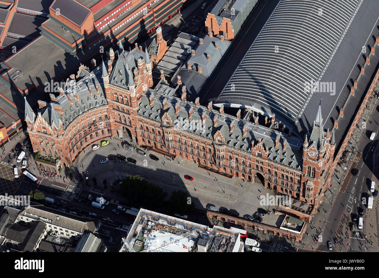 aerial view of St Pancras International Station, London, UK - Stock Image