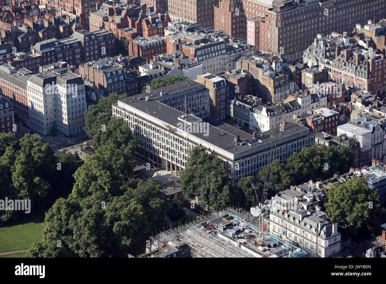 aerial view of the U.S. Embassy in Grosvenor Square, London, UK - Stock Image