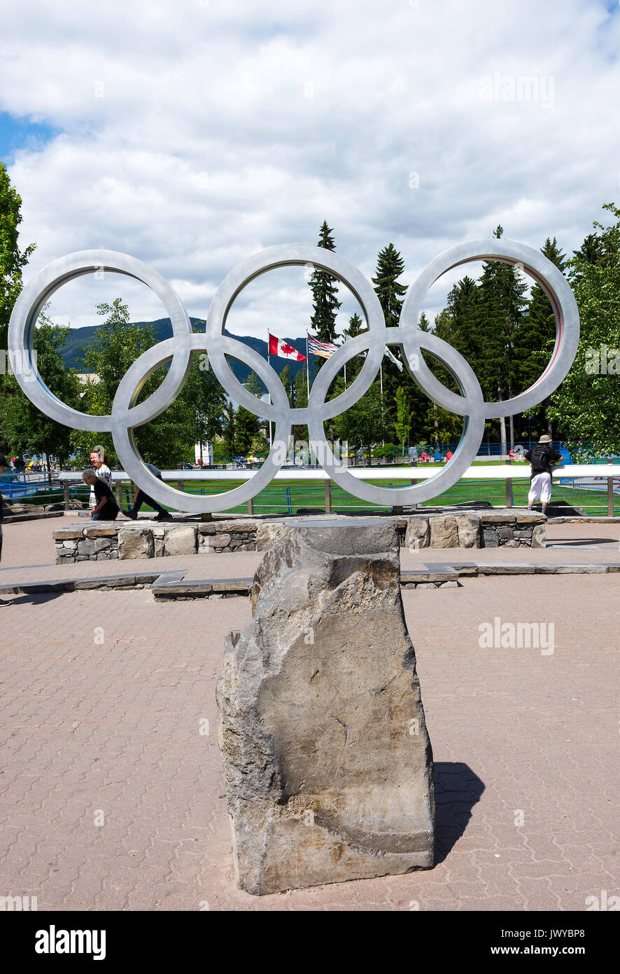 The Symbol of Five Olympic Rings for The Winter Olympic Games of 2010 in the Town of Whistler British Columbia Canada Stock Photo