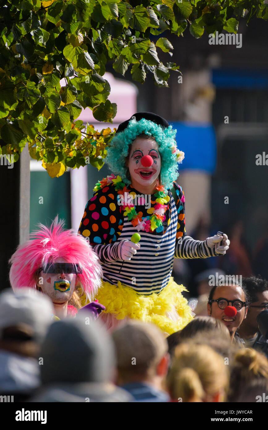 HELSINKI, FINLAND - SEPTEMBER 24, 2016: Members of the Loldiers of Odin clown group at the Peli poikki - Rikotaan hiljaisuus - protest rally against r - Stock Image