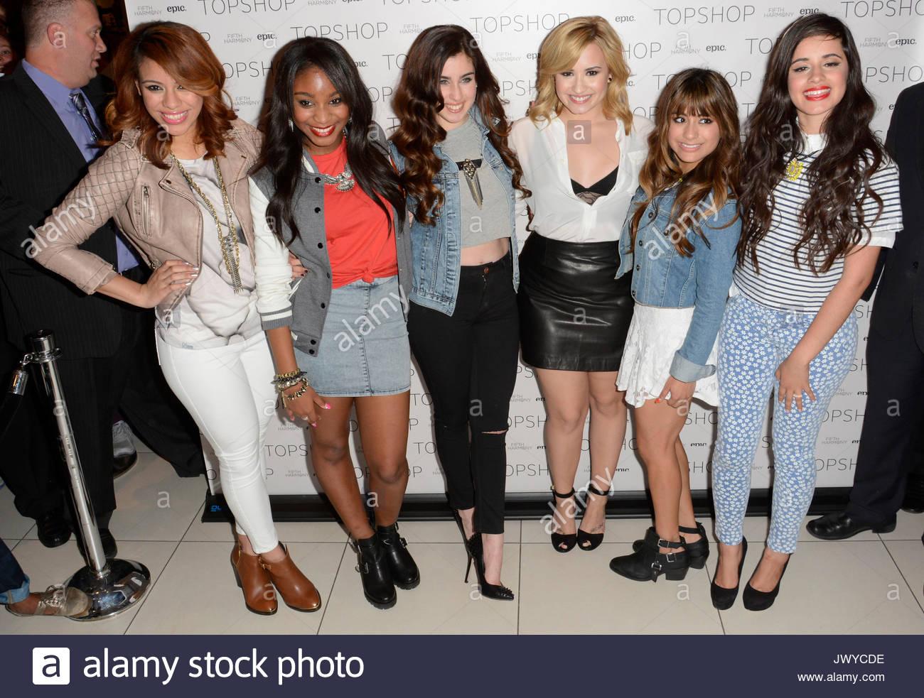 Demi lovato and fifth harmony demi lovato with x factor finalists demi lovato and fifth harmony demi lovato with x factor finalists fifth harmony at top shop in soho nyc for a fan meet and greet with a chance to win m4hsunfo