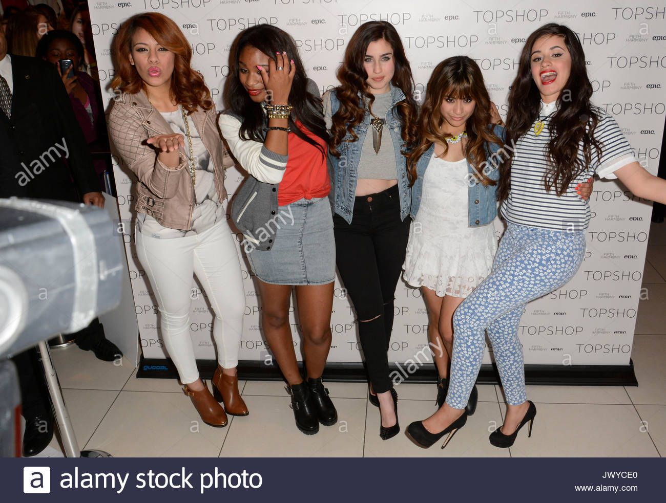 Fifth harmony dinah jane hansen normani hamilton lauren stock demi lovato with x factor finalists fifth harmony at top shop in soho nyc for a fan meet and greet m4hsunfo