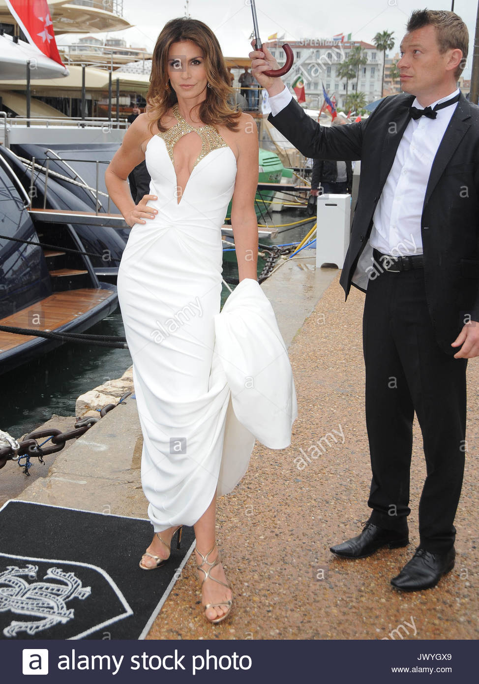 Cindy Crawford. Cindy Crawford steps off the boat of Roberto Cavalli ...