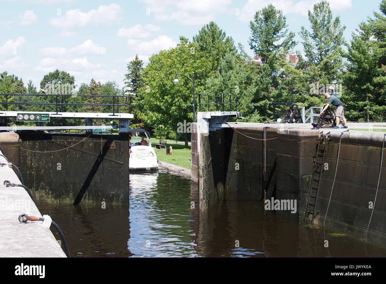 Open bottom lock gate at Carleton University, Rideau Canal, Ottawa, Ontario, Canada. - Stock Image