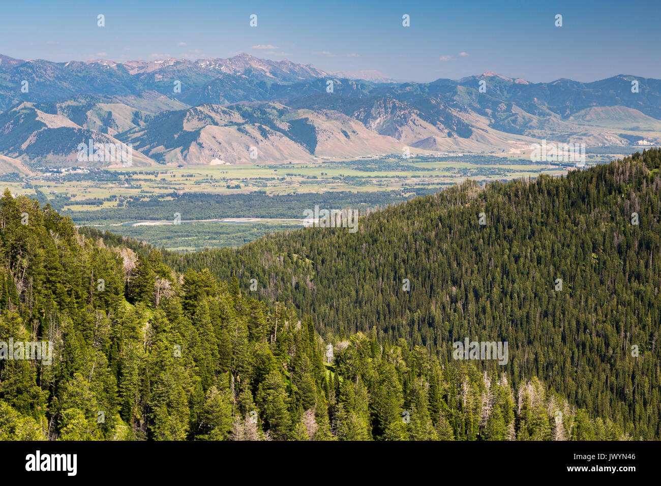 The Gros Ventre Mountains rising beyond the valley of Jackson Hole and the Snake River Mountains. Bridger-Teton National Forest, Wyoming - Stock Image