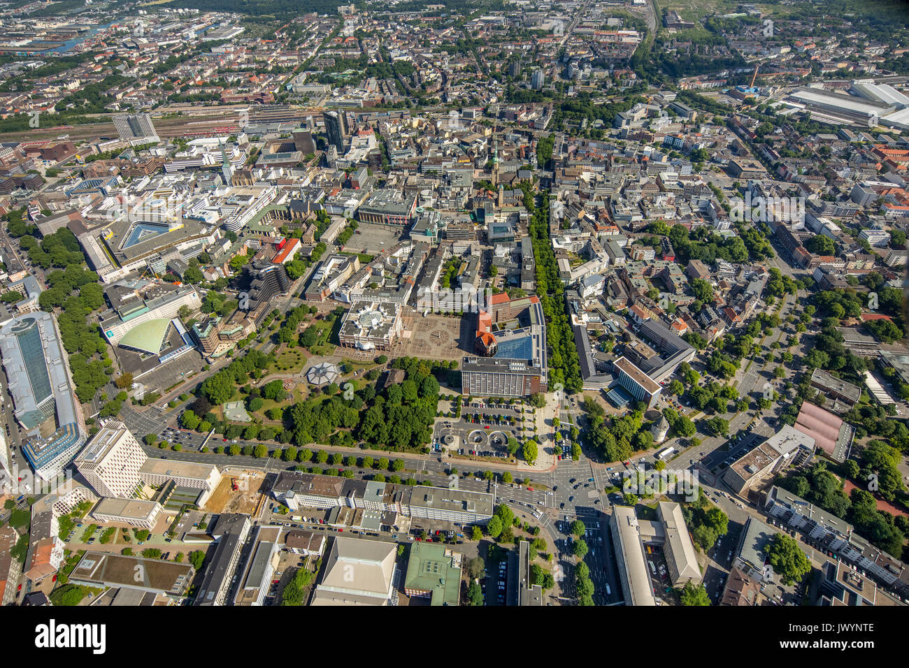 Overview of Dortmund, Dortmund main station, Dortmund city hall, Stadthaus, Wälle, Dortmund, Ruhr area, North Rhine-Westphalia, Germany, Dortmund, Eur - Stock Image