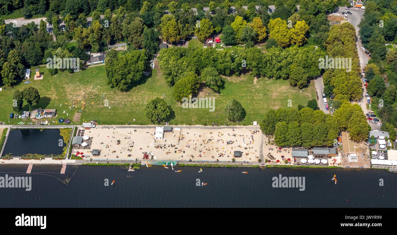 Seaside Beach Baldeney, bathing in the Ruhr, swimming in Baldeneysee, beach, beach volleyball, climbing, sand beach, Cross-Fit, Football, Hot Rod, can - Stock Image