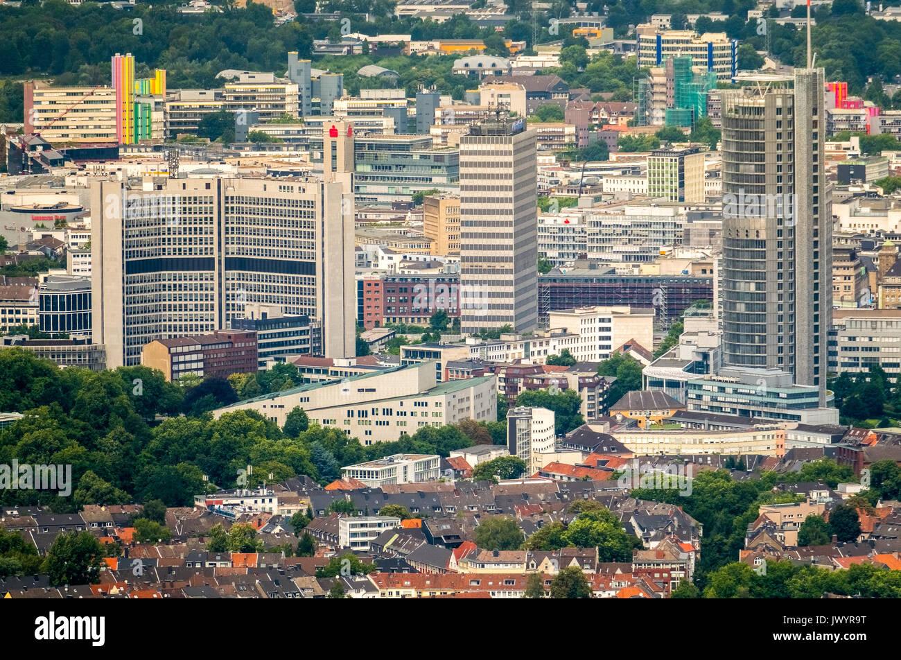 RWE-Tower, Aalto-Theater, Philharmonie Essen, Postbank Immobilien GmbH, Postbank Hochhaus, RWE Systems AG, skyscrapers, skyline of Essen, Essen, Ruhr  - Stock Image