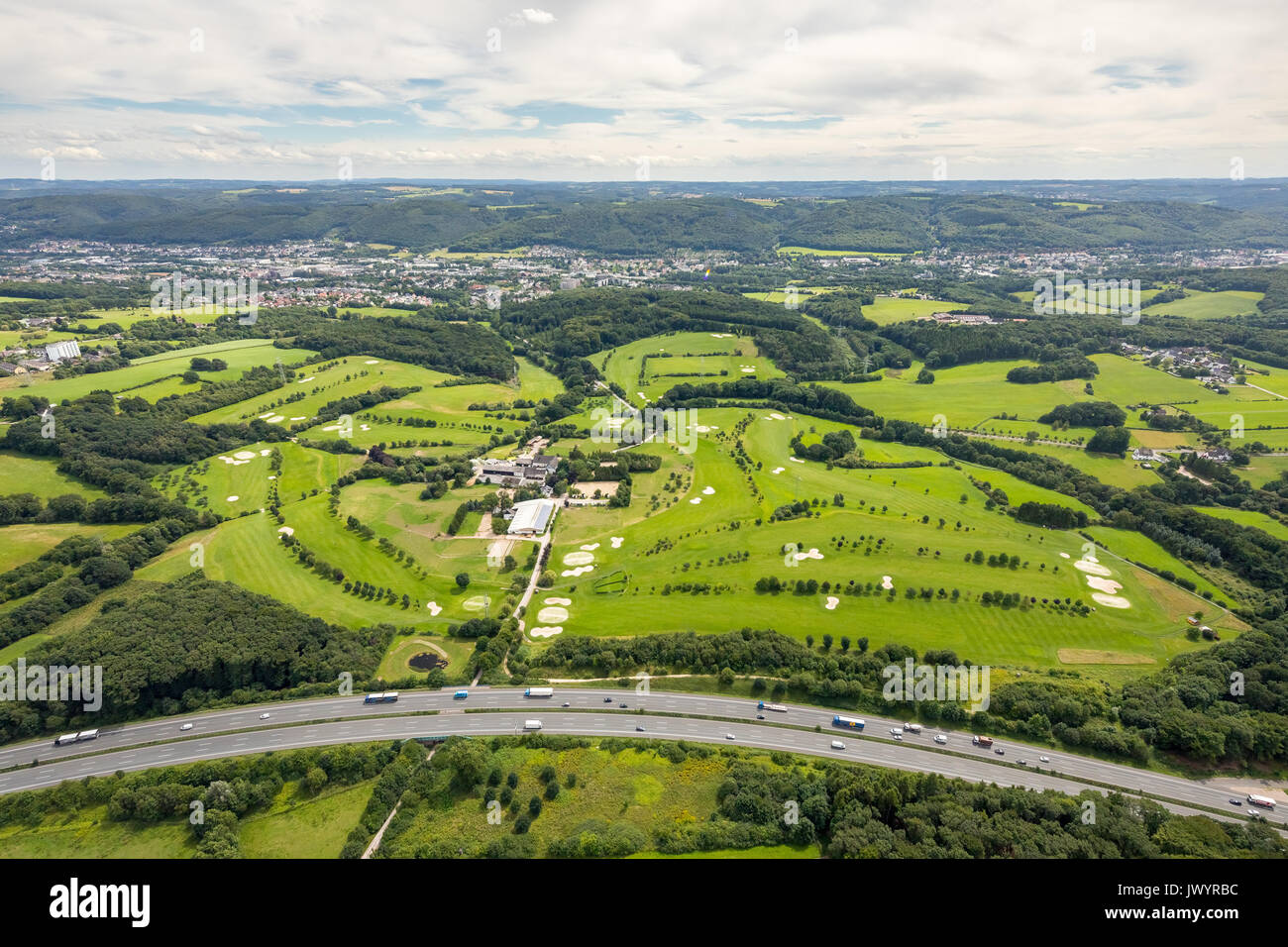 Golfclub Good mountains, golf course, golfing, mower, mower on the putting area, Gevelsberg, Ruhr area, North Rhine-Westphalia, Germany, Bergisches La - Stock Image