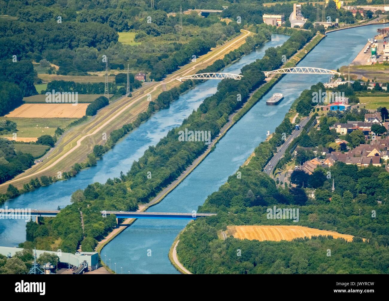 Datteln-Hamm canal, river Lippe, inland waterways, lippe bridges over the lippe, bridges lippe parks, lippe side channel, Hamm, Ruhr, Nordrhein-Westfa - Stock Image