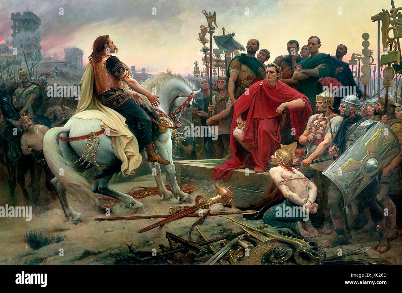 Vercingetorix throws down his arms at the feet of Julius Caesar, 1899 - Lionel Royer - Stock Image