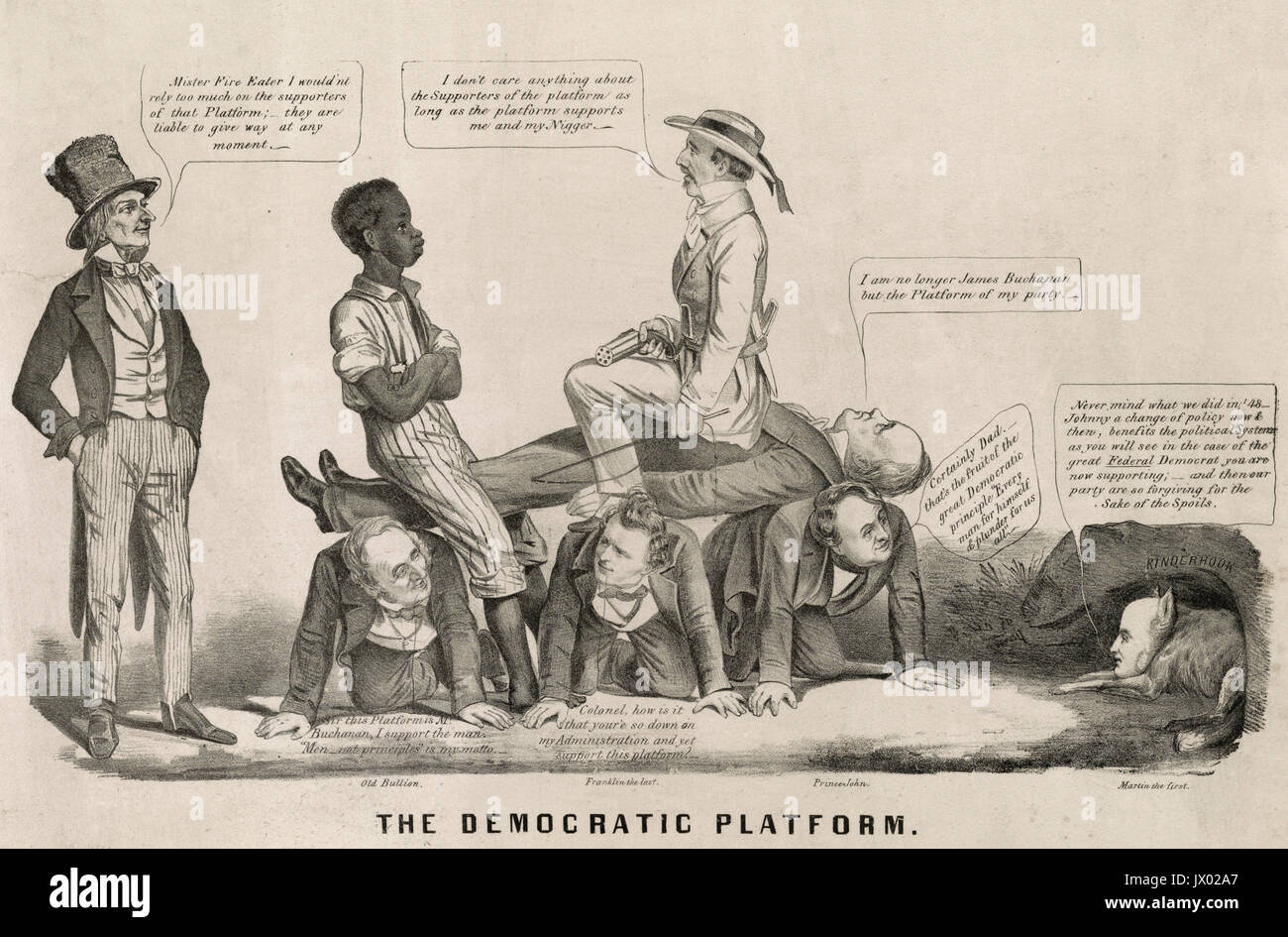The Democratic Platform - Print shows Democratic presidential candidate James Buchanan lying on the backs of three men on their hands and knees, from left, Senator Thomas Hart Benton identified as 'Old Bullion', President Franklin Pierce identified as 'Franklin the last', and John Van Buren identified as 'Prince John', who is speaking to his father, former president, Martin Van Buren identified as 'Martin the first', shown as a fox in a cave on the right. Seated on top of Buchanan is a Southern slave owner with one of his young slaves. Brother Jonathan stands on the far left and suggests to th - Stock Image