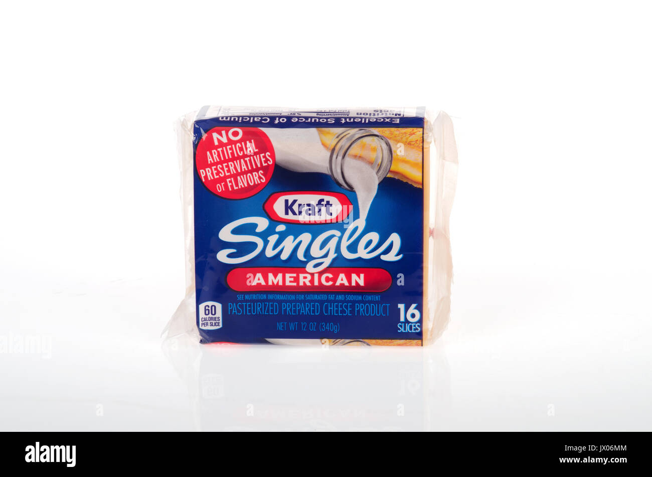 Unopened package of Kraft Singles yellow american cheese on white background, cutout. USA - Stock Image
