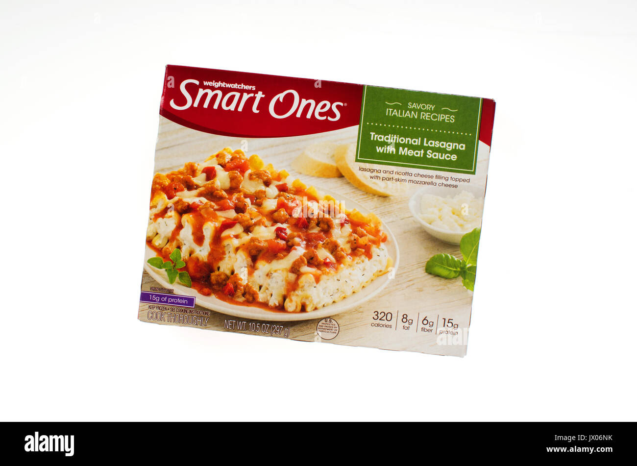Unopened package of Weight Watchers Smart Ones frozen ready-meal Savory Italian Recipes Traditional Lasagna with Meat Sauce on white background, USA. - Stock Image