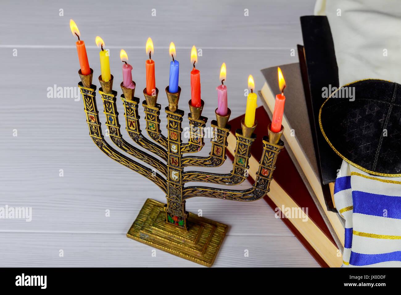 A still life composed of elements of the Jewish Chanukah Hanukkah festival. jewish holiday Hanukkah - Stock Image