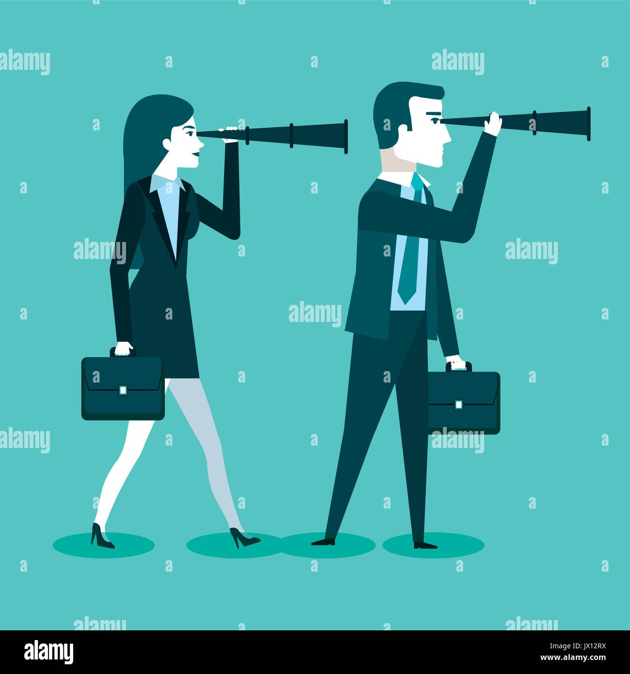 businessman and business woman with spy glasses for successful cooperation vector illustration - Stock Image