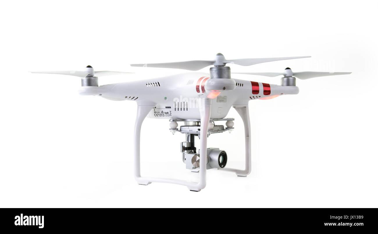 SWINDON, UK - AUGUST 1, 2017: DJI Phantom 3 Drone on a White Background - Stock Image