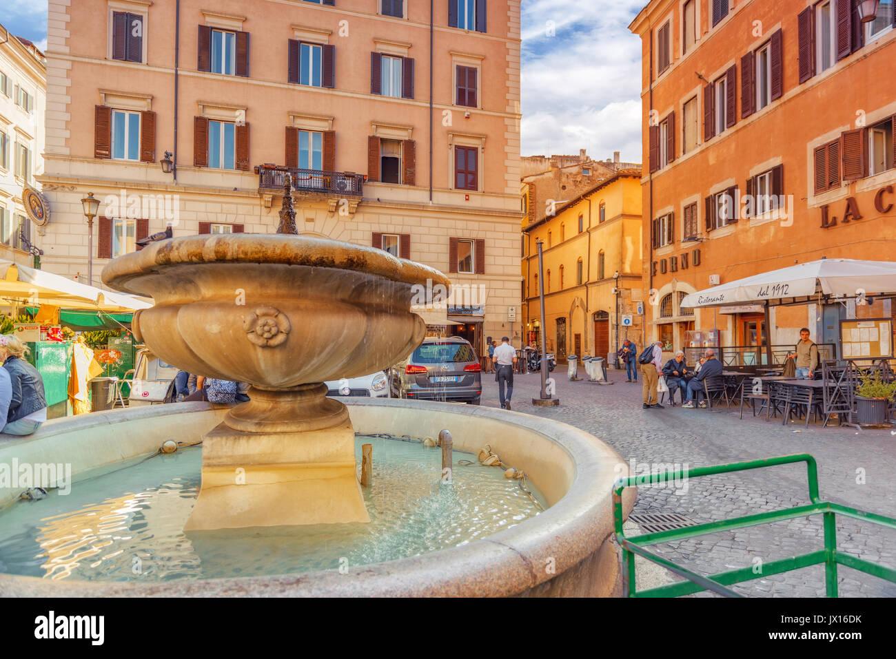 Campo Dei Fiori.Rome Italy May 09 2017 Square Campo De Fiori And Fountain Of