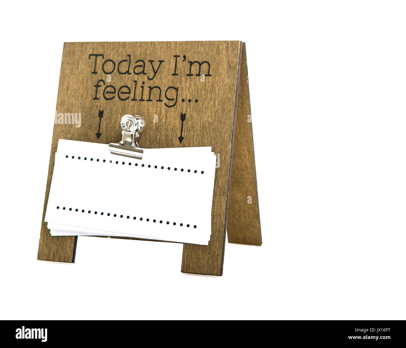 Today I'm Feeling Blank message on a hand made wooden easel - Stock Image