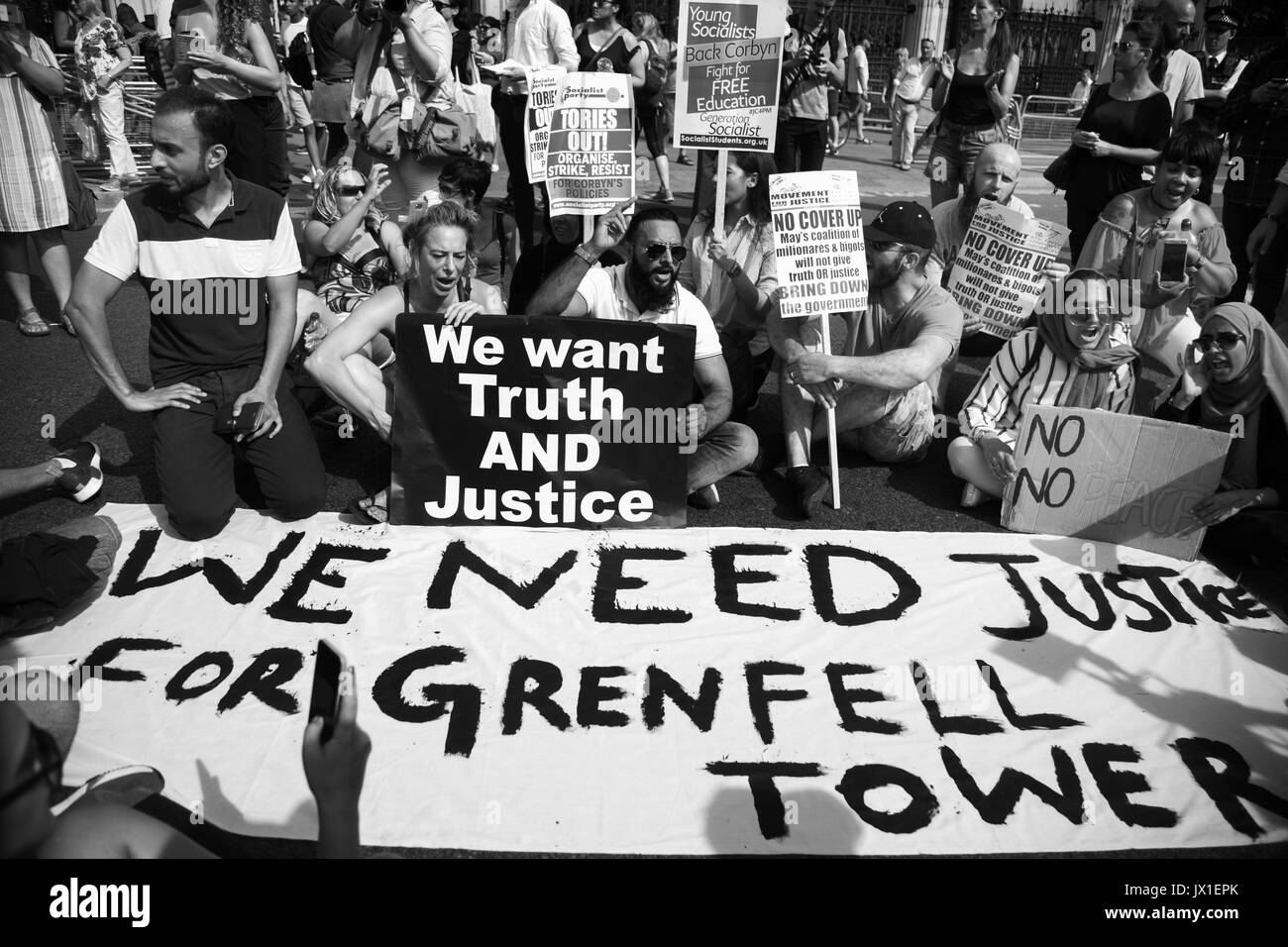 The Day of Rage protest organised by Movement for Justice  went from Shepherdís Bush to Downing Street and Parliament Square June 21st 2017, London, U - Stock Image