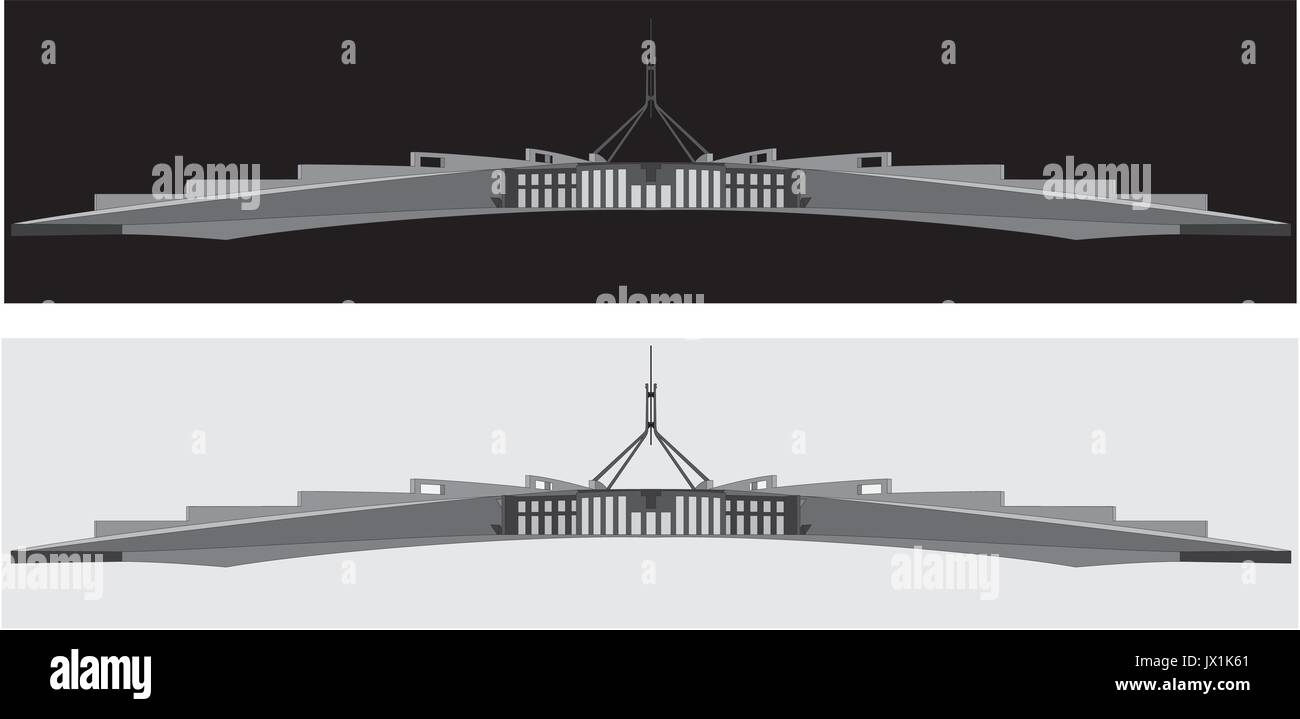 A black and white silhouette of the Australian parliament house, Canberra - Stock Image